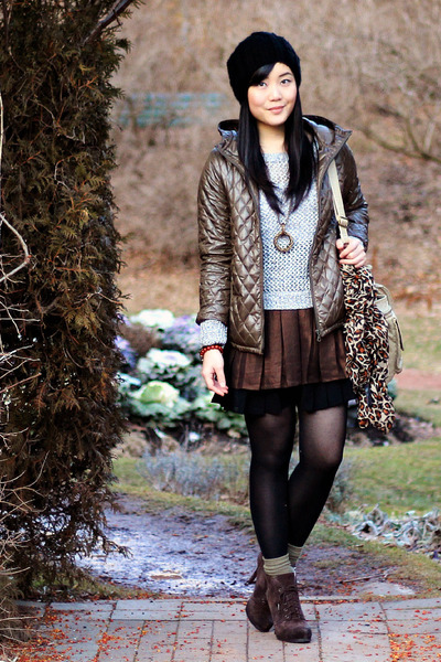 H&M skirt - suede Luxury Rebel boots - Uniqlo jacket - Old Navy sweater