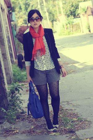 carrot orange Ardene scarf - black Zara blazer - blue foley & corinna bag