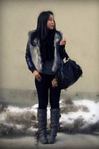 Blowfish boots - Uniqlo jeans - H&M jacket - BB Dakota sweater - Urban Outfitter
