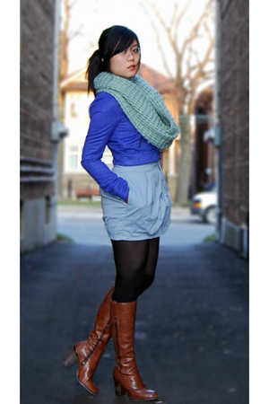 blue H&M jacket - blue Silence & Noise skirt - black American Apparel dress - bl