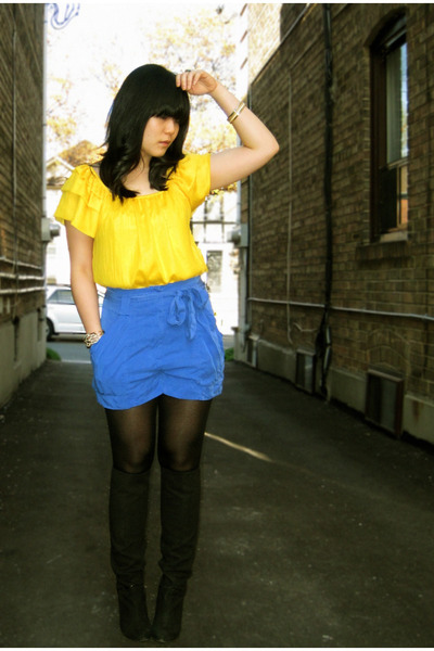 yellow winners top - blue H&amp;M shorts - black Nine West boots