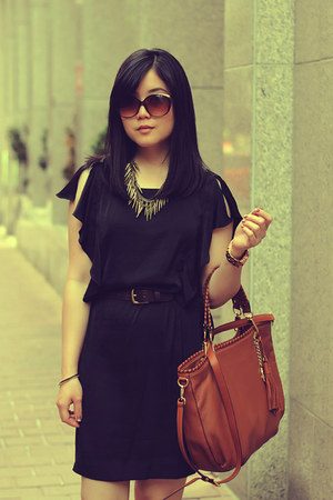 black MNG by Mango dress - brown Michael Kors purse - brown Aldo sunglasses