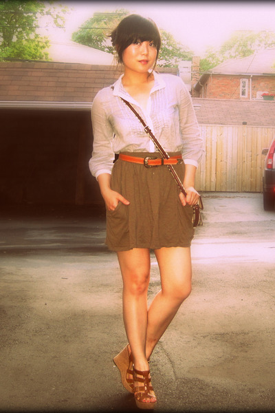 gray Bershka shirt - green Zara skirt - brown belt - brown Aldo shoes - beige pu