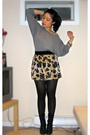 Gray-american-apparel-sweater-gold-forever-21-skirt-black-aldo-boots-gold-