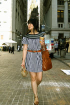 black Uniqlo dress - brown belt - brown the sak purse - brown Century 21 shoes