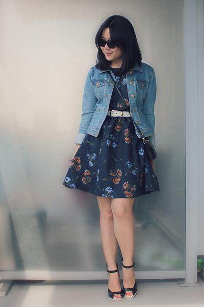 black vintage Nina Ricci bag - navy OASAP dress - light blue H&M jacket