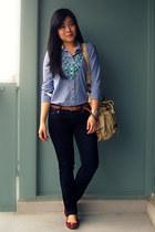navy Seven7 jeans - light blue Tommy Hilfiger shirt - beige Urban Outfitters bag