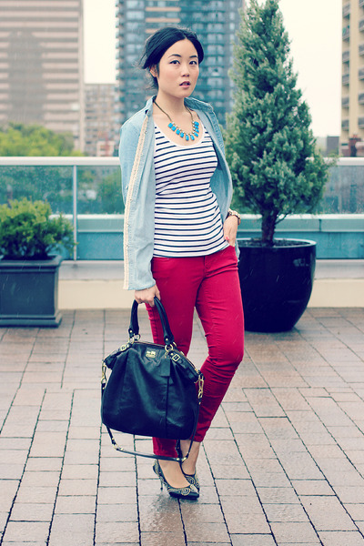 blue JCrew necklace - maroon Old Navy jeans - light blue Oasapcom shirt