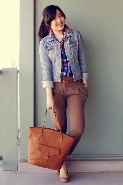 light brown H&M bag - tan Aldo shoes - light blue H&M jacket