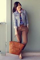 light brown H&M bag - tan Aldo shoes - light blue H&M jacket