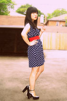 blue H&M dress - red H&M belt - black Aldo shoes