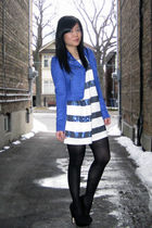 blue suede H&M jacket - black suede Dolce Vita shoes - white sequined H&M dress