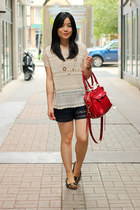 navy lace shorts - brick red mini mab Rebecca Minkoff bag