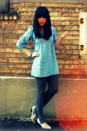 blue H&M dress - gray Uniqlo leggings - gray Aldo shoes