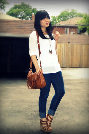 blue Forever 21 jeans - brown strappy wedges Aldo shoes - brown the sak bag