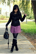 black Mackage jacket - black Ugg Australia boots - black Urban Outfitters dress