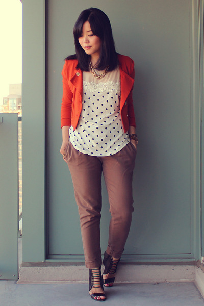 carrot orange H&M blazer - off white OASAP top - olive green Zara pants
