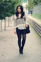 black sam edelman boots - striped Oasapcom sweater - black coach bag