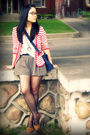 Red-urban-outfitters-blazer-white-old-navy-t-shirt-gray-urban-behavior-short