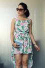 Floral-print-oasap-dress-bag-oversized-firmoo-sunglasses