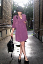 purple Urban Outfitters dress - black Urban Outfitters purse - black Aldo shoes