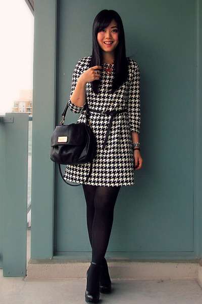 black Marc by Marc Jacobs bag - houndstooth H&M dress