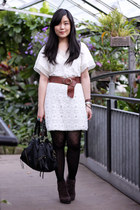 white crochet Sugarlips Apparel dress - dark brown Luxury Rebel boots