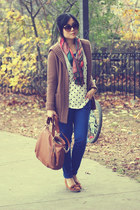 brown Michael Kors bag - blue Old Navy jeans - multicolor scarf