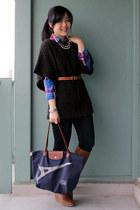 navy longchamp bag - brown Aldo boots - dark gray Cheap Monday sweater