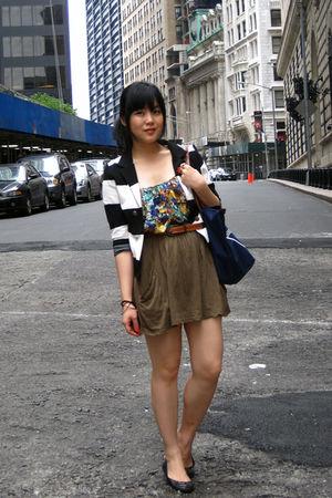 black H&M blazer - green H&M blouse - green Zara skirt - brown belt - blue longc