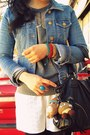 Light-blue-denim-h-m-jacket-heather-gray-bb-dakota-sweater-black-urban-outfi