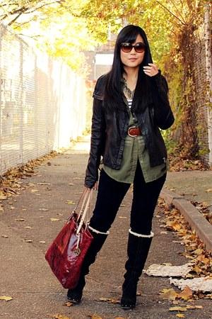 black Ugg Australia boots - navy blank nyc jeans - black Mackage jacket