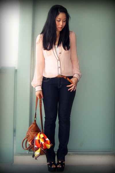 pink Zara blouse - blue Uniqlo jeans - brown H&M belt - brown the sak bag - blac