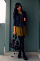 mustard Forever 21 dress - navy H&M jacket - black Urban Outfitters bag