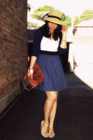 blue Zara cardigan - blue Uniqlo dress - brown the sak purse - yellow Urban Outf