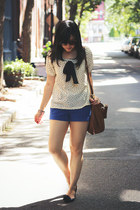 off white yesstylecom blouse - brown Michael Kors bag - blue H&M shorts