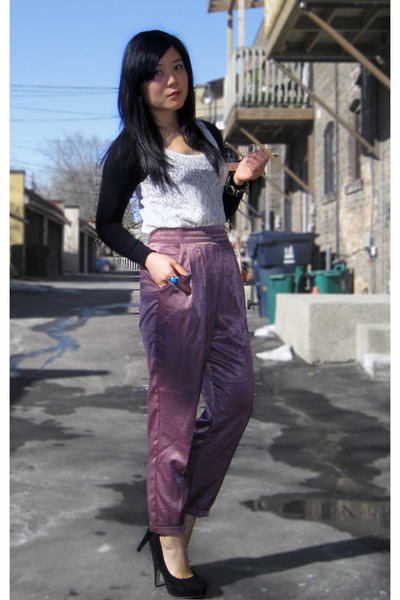 black Forever 21 top - white Forever 21 top - purple Silence & Noise pants - bla