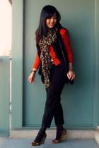 dark brown leopard print H&M scarf - carrot orange H&M blazer