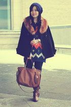 black Zara coat - brown Aldo boots - blue beanie Forever 21 hat
