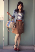 light blue denim jacket H&M jacket - beige H&M bag - white striped H&M top