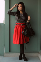 red H&M skirt - black Aldo shoes - gray joe fresh style sweater
