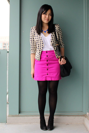 Gap skirt - suede sam edelman boots - polkadot choiescom blazer