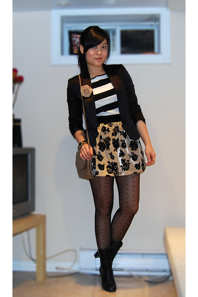 black Zara blazer - white Forever21 top - gold Forever21 skirt - black H&amp;M tight