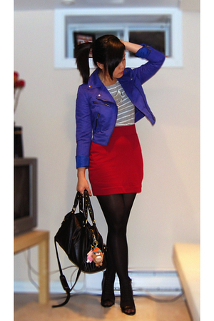 blue H&M jacket - black Aldo shoes - gray Zara dress
