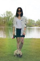 black Old Navy shorts - black OASAP sunglasses - off white OASAP blouse