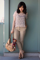light pink sheer printed threadsence blouse - peach Cole Haan bag