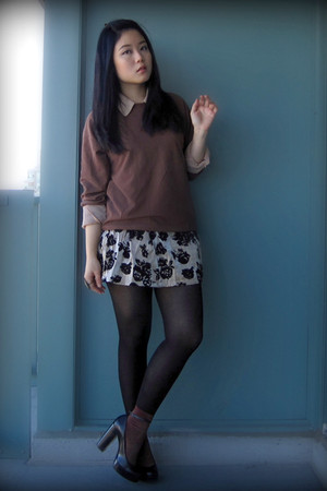brown American Apparel sweater - peach American Apparel blouse - gold Forever 21