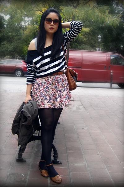 black Zara top - pink Zara skirt - brown the sak - brown shoes - brown belt - br