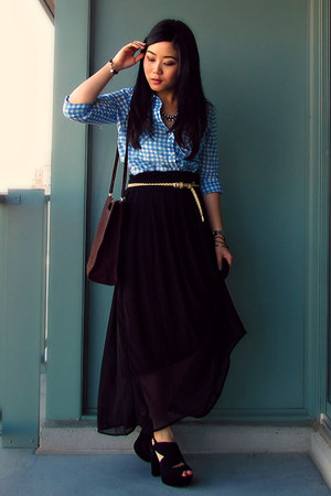 H&M skirt - from mom Guess bag - Forever 21 belt - Aldo heels - Old Navy blouse