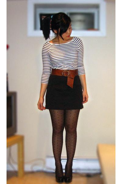 black H&M tights - black Aldo shoes - white H&M dress - brown Topshop belt